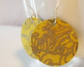 Mustard Yellow and Gold Floral Small Origami Earrings