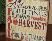 FALL Sign/Subway Style/Autumn/Typography/Fall Decoration/Wood Sign/Handpainted