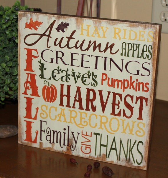 FALL Sign/Subway Style/Autumn/Typography/Fall Decoration/Wood Sign/Handpainted/Fall Colors/Wood Sign/Autumn Colors