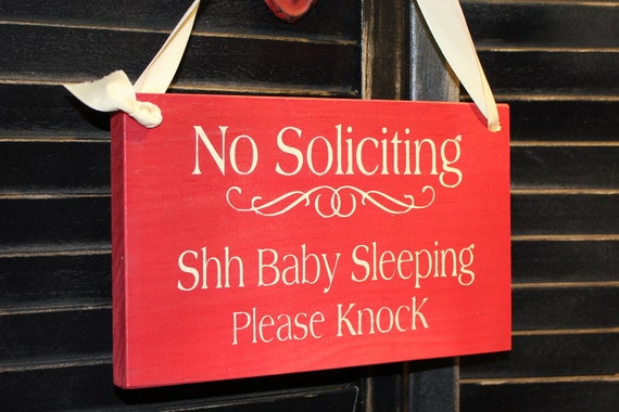 No Soliciting/Shh Baby Sleeping Please Knock Sign/Baby Shower Gift/YOU Choose Color/Wood Sign/Outdoor Sign