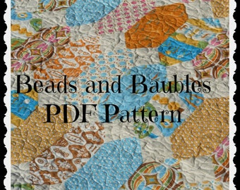 Beads and Baubles Quilt pattern PDF -- layer cake friendly, beginner, baby, lap, twin, full