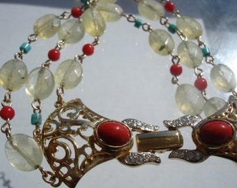 Phrenite Gemstone Bracelet, Draped Cuff Bracelet, Turquoise and Coral Accent, Gold Filigree Clasp