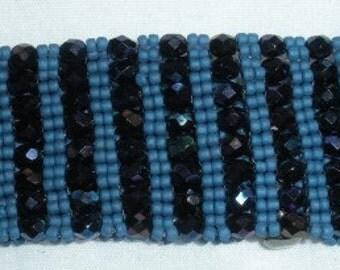 Denim Blue right angle weave Beaded Bracelet , 7inch, Handmade