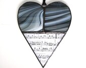 Music love heart suncatcher, stained glass black and white unique