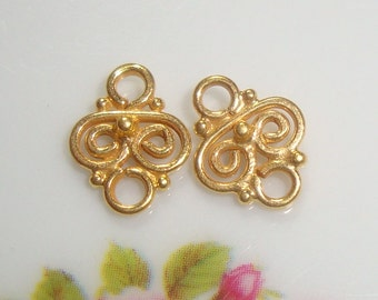 4 pcs, 9x7mm, Handmade 24K Gold Vermeill Tiny Filigree Small connector link - PC-0010