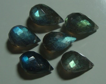 2 pcs, 12-13x7-8mm, Firey Blue Green Flash Labradorite Faceted Teardrop Briolette