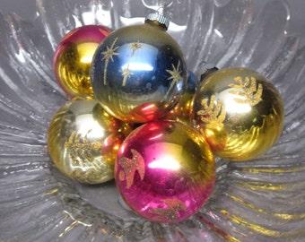 6 Shiny Brite Glass Ombre Ornaments