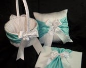 White or Ivory Wedding Ring Bearer Pillow Flower Girl Basket Guest Book Tiffiny Blue Accent 3 Piece Set