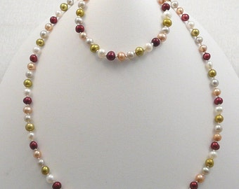 4 pc Party Pearls jewelry necklace & bracelet set, hand knotted on silk white gold olive blush burgundy