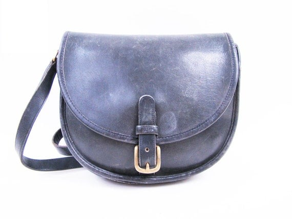Vintage 70s Black Leather COACH Satchel Bag // Coach Purse
