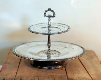 vintage silver plate lazy susan style tiered tray