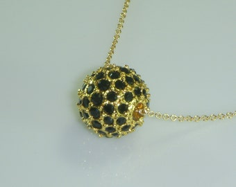 Gold Necklace adorned with a Black Onyx Pave Encrusted Pendant