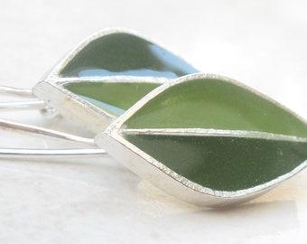 Olive Green Earrings Dangle Earrings Leaves Earrings Sterling Silver Earrings