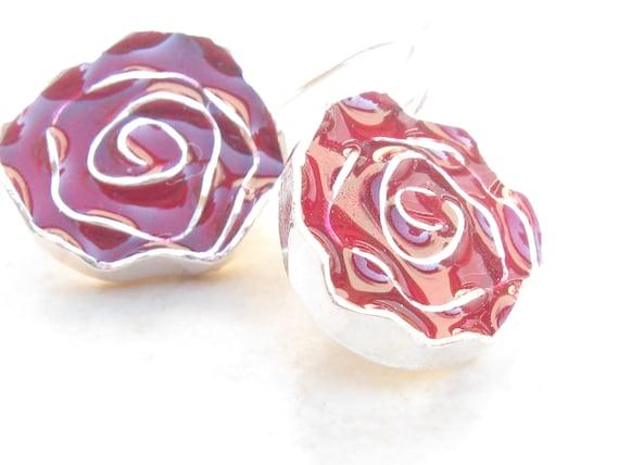 Red Erraings Silver Red Rose Earrings