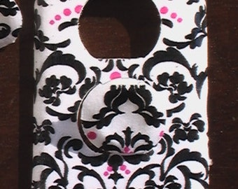 Damask Pink and Black on White Outlet Cover with Child Safety Plugs