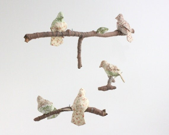 Modern Bird Mobile for Nursery Baby Decor - fabric sculpture on yarn wrapped branches in mint, cream, brown, and rose