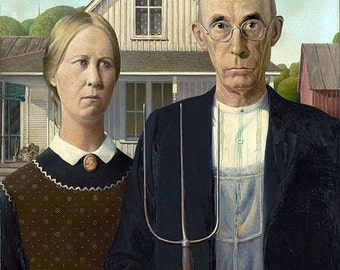 American Gothic vintage image art 8 1/2 x 11 reproduction