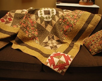 "Queen or Double Sampler quilt in earthy tones 86"" X 87"""
