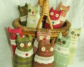 Pincushion Cat Homespun Prim Softie and Basket Fillers - 7 Inch