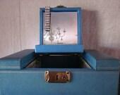 Retro Shabby Jewelry Box Teal / Gold  w Mirror - Medium Chic Storage