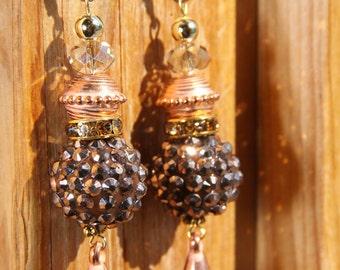 """3"""" 1/4 L Copper n Brown  color dangle drop earrings"""