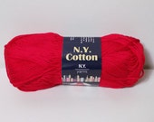 N.Y. Yarns 100% Cotton Mercerized Yarn Color No. 0010 RED DISCONTINUED