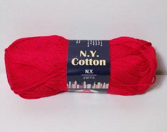 N.Y. Yarns 100% Cotton Mercerized Yarn Color No. 0010 RED DISCONTINUED