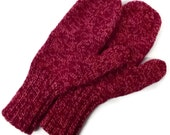 Red and pink wool mittens Adult Large red tweed