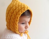 SALE Knitted Baby Hat,Mustard Hat, Cable Knit Baby Hat, Chunky Hat,Beanie,Sunny Beret, Winter Accessory, Baby Hat, For 3-6 Months