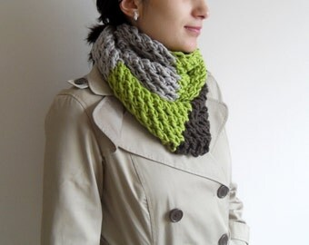 Loop Scarf, Hooded Scarf, Pistachio Brown Khaki,Knitted Shawl, Winter Accessory Chunky, Multicolor Shawl