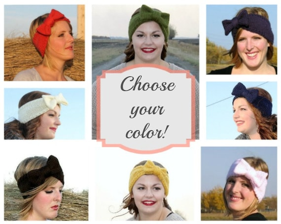 Knit Headband. Bow Earwarmer. Big Bow Headband. Vintage Headband. For Her. Custom Order.