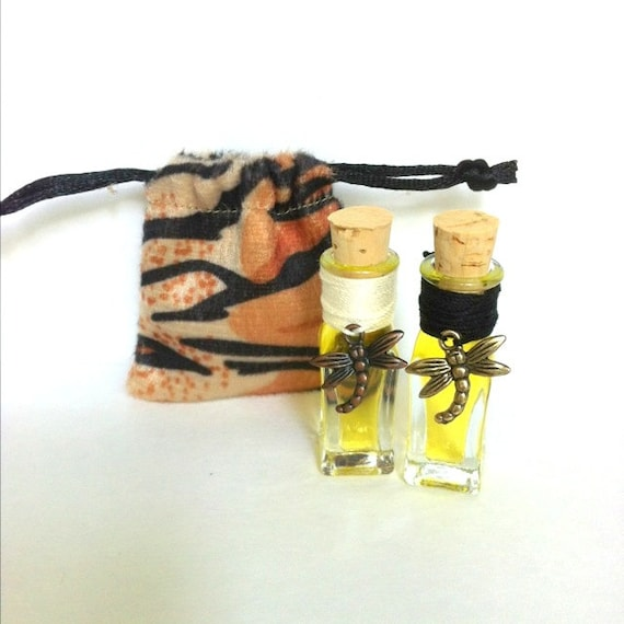 Passion Fruit Perfume and Peach Perfume Handcrafted with Dragon fly charm and Tiger Print Bag  Organic  FREE SHIPPING USA