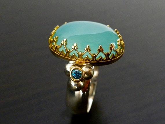 Custom Listing For Lisa- Crown Ring  Set With Aqua Colored Chalcedony & Blue Diamonds.
