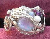 Opal Ring - Fire Opal Dragon Ring -  genuine Opal, Dragon Eye - statement piece, intricate wire wrap,  Eye of Horus