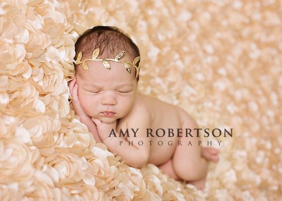 Golden leaf goddess newborn headband