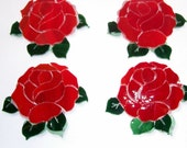 Red Roses, Mosaic Supplies, Roses, OOAK Roses..2 for 10.00