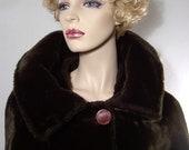 Vintage 50s 60s jacket - Medium / Large- jet black plush faux fur - cuddly warm glamour - evening wrap