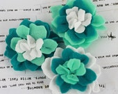 SALE CLEARANCE 30% off - Turquoise Aqua Teal Poppies and Peonies Collection - Felt Flower Embellishments Fabric Flowers