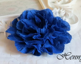 1 pc New Large Shabby Chic Frayed Wrinkled Cotton Voile and Tulle Rose Fabric Flower - Royal blue