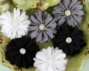 Prima - Cabaletta  Winter 561710  Black Grey White Assorted Chiffon Mini Fabric Flowers with pearl center