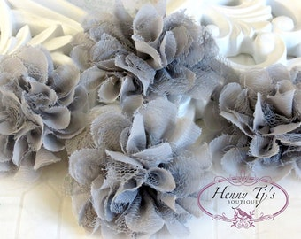 NEW: 4 pieces SMALL Shabby Chic Frayed Chiffon Mesh and Lace Rose Fabric Flower - GREY
