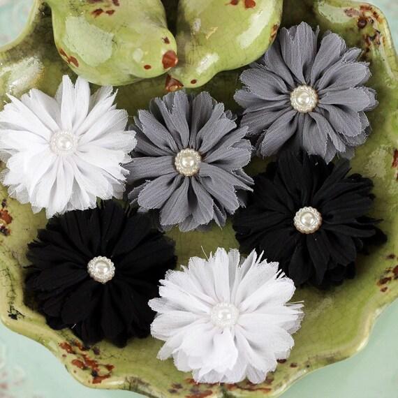 Prima - Cabaletta  Winter 561710  Black Grey White Assorted Chiffon Mini Fabric Flowers with pearl center