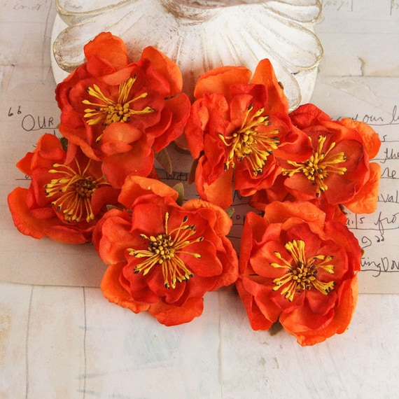 BRAND NEW:  Bel Canto Orange small fabric flowers with stamens on center.