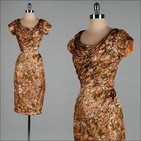 Vintage 1950s Dress . Gold . Copper . Brocade . Metallic . Draping . Wiggle . S/M . 1664