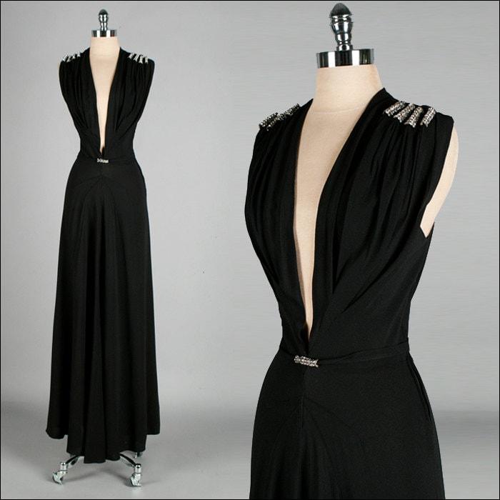 Vintage 1930s Dress . Black . Plunging Neckline . Rhinestones