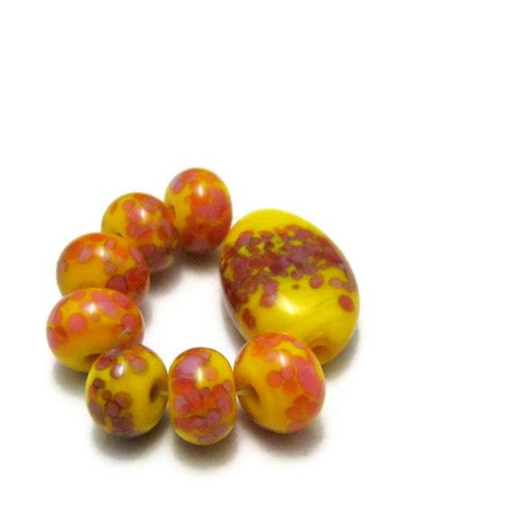 Glass Lampwork Beads Mango Orange Dark Pink Frit Beads Artisan Handmade