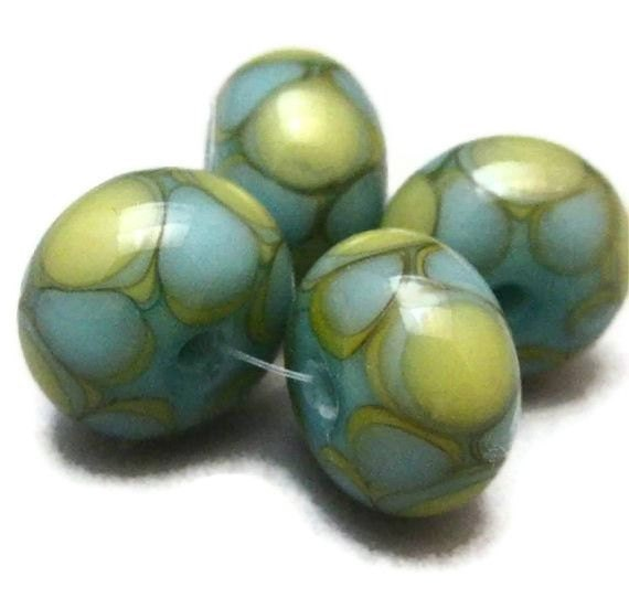 Lampwork Glass Beads Handmade Glass Lampwork Beads Turquoise and Pale Gold Harlequin Dots