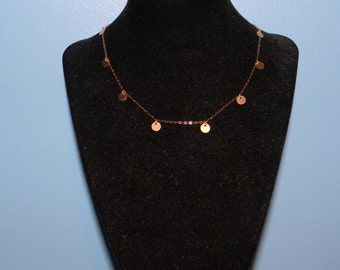 14K Gold Disc Necklace, Wanderlust Inspired Worn by Jennifer Aniston, 14 15 16 17 18 inch, Linda Gergenblatt, Jewelry Chain
