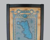 chicago map - framed
