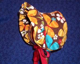Baby Sun Bonnet Corduroy and Fleece Butterflies and Daisies